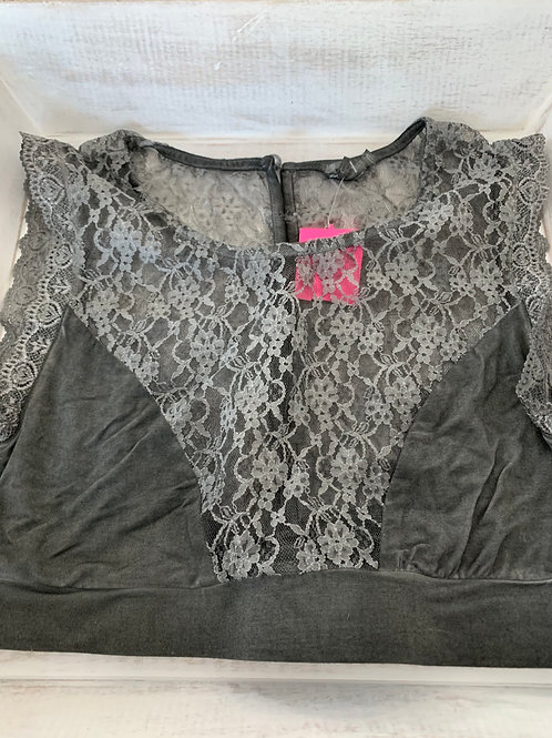 POL Button Down Black Floral Lace Bralette