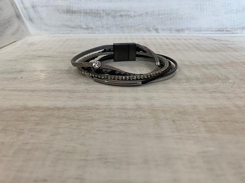 Lauren Michael Gray Layered Braided Sequence Bracelet
