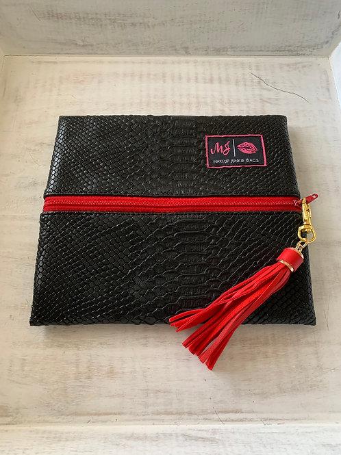 Makeup Junkie Bags Destash Black Cobra Red Zipper Small