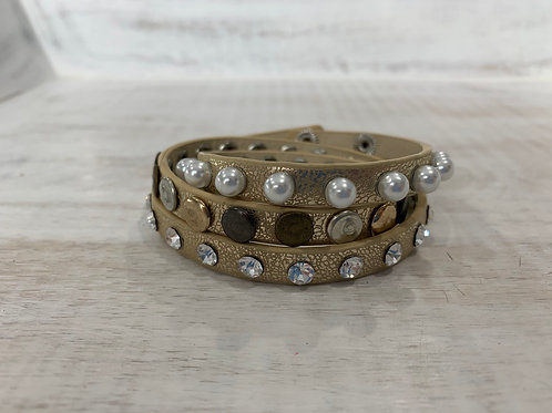 Lauren Michael Gold Wrap with Pearls and Studs Bracelet