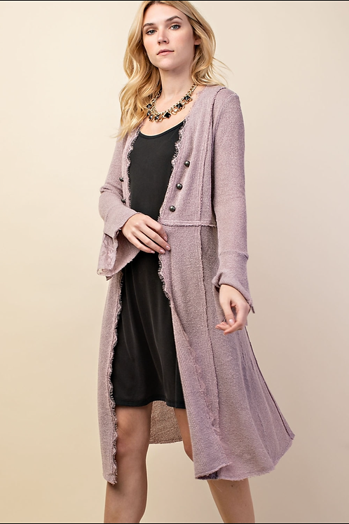 Vocal Long Knit Jacket with Buttons