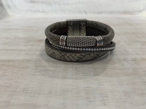 Lauren Michael Silver Gray Leather Stack Bracelet
