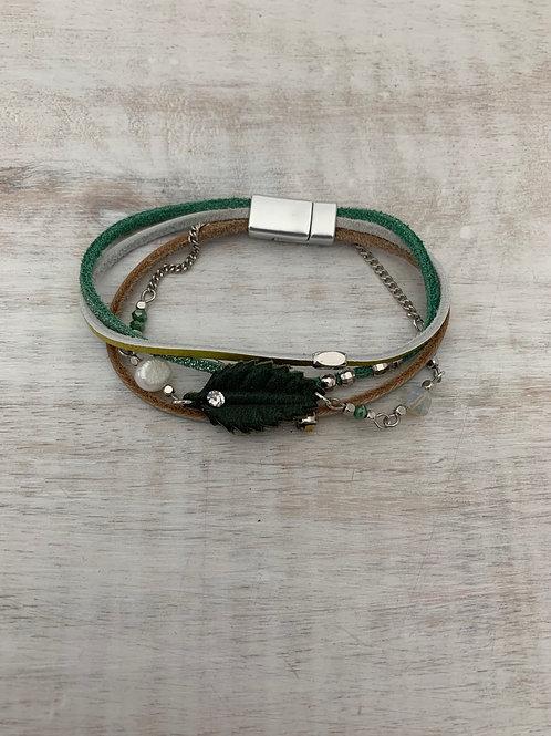 Lauren Michael Green Leaf Stack Bracelet