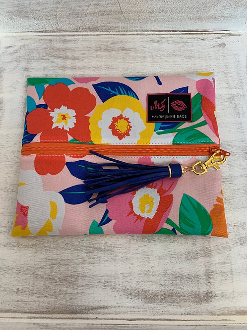 Makeup Junkie Bags Turnkey Drop Pink Flowers Small