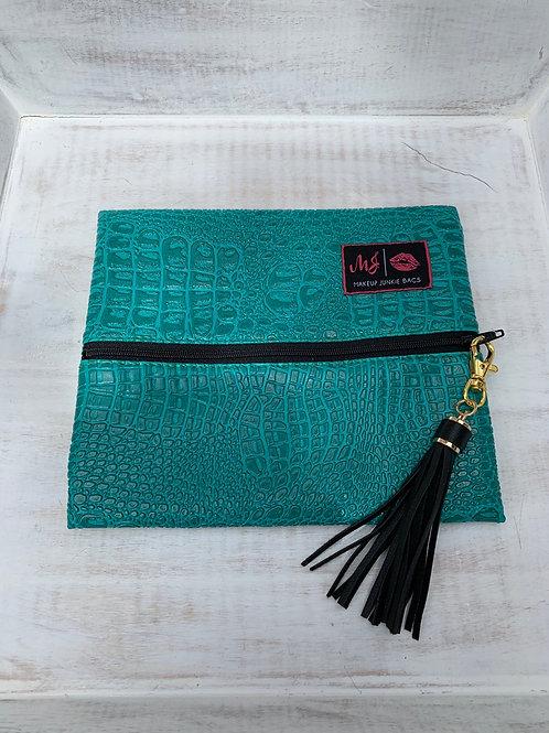 Makeup Junkie Bags Destash Original Turquoise Gator Small