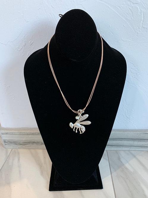 Lauren Michael Rose Gold Bee Necklace