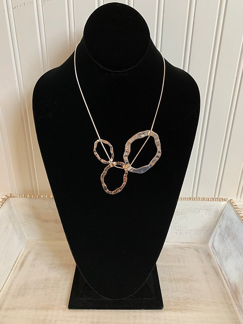 Lauren Michael Hammered Three Circle Necklace
