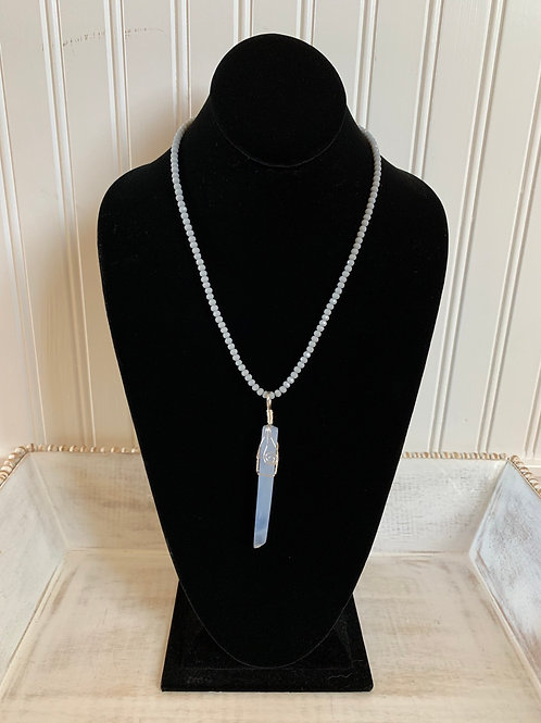 Lauren Michael Blue Crystal Beaded Necklace