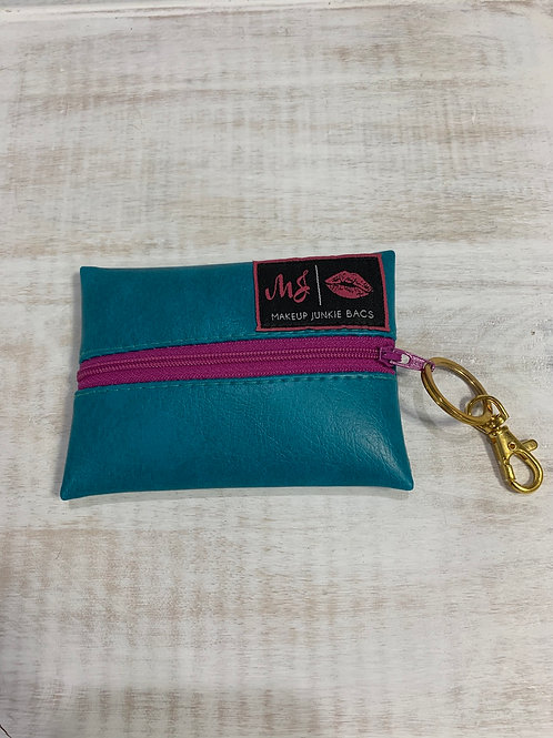 Makeup Junkie Bags Teal Purple Zipper Micro