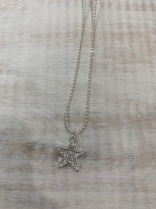 Lauren Michael Silver Star Rhinestone Necklace