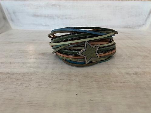Lauren Michael Brown Pastel Stackable Star Bracelet