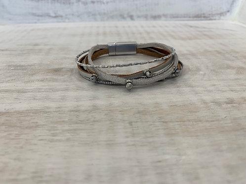 Lauren Michael Silver Disco Ball Leather Stack Bracelet