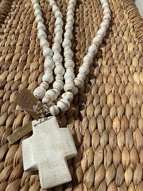 Mud Pie White Cross Beads
