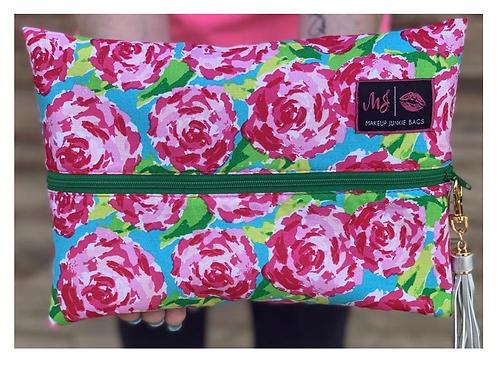 Makeup Junkie Bags Pink Roses Medium
