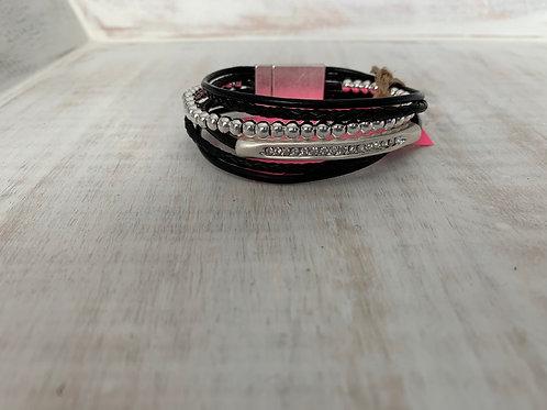 Lauren Michael Black Cord Silver Diamond Bar Layered Bracelet
