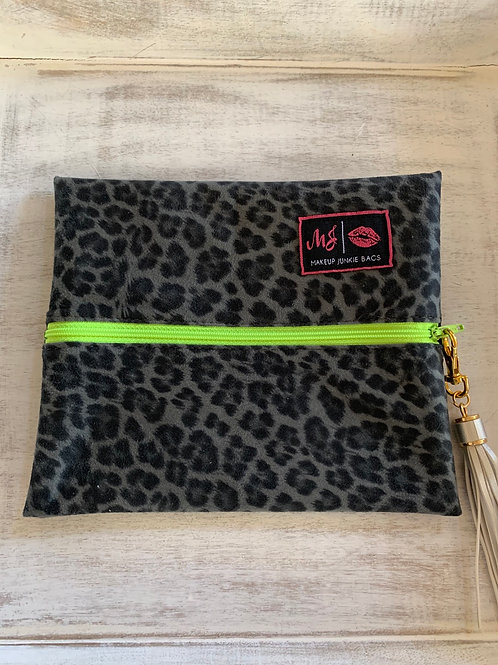 Makeup Junkie Bags Lime Leopard Small