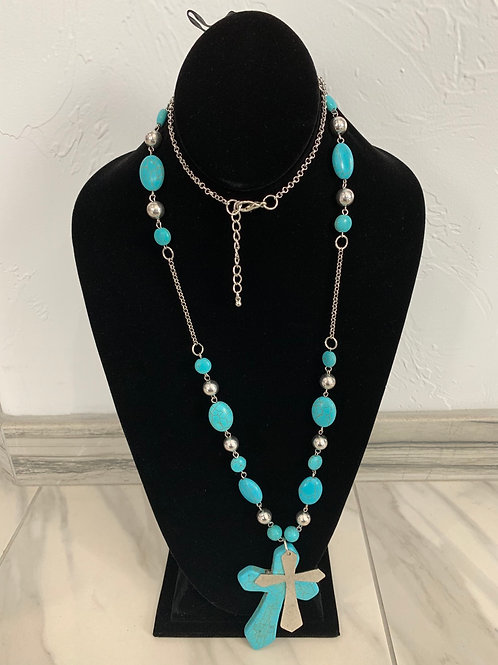 Lauren Michael Statement Necklace Turquoise Cross
