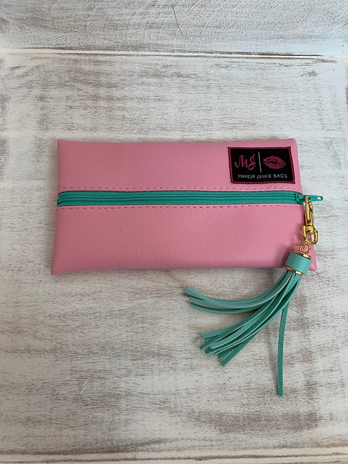 Makeup Junkie Bags Baby Pink Mint Zipper Mini