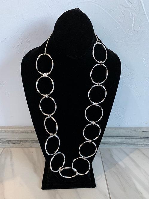 Lauren Michael Silver Circles Chain Necklace