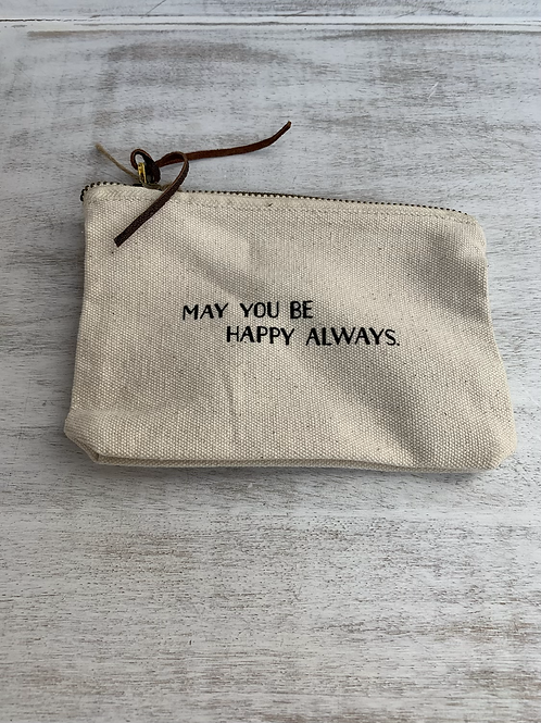 Mud Pie Happy Always Canvas Pouch