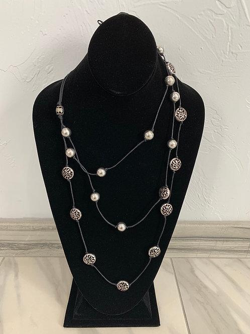 Lauren Michael Triple Layer Cutout Bead Necklace