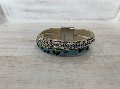 Lauren Michael Chain Leopard Bracelet