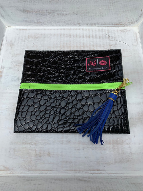 Makeup Junkie Bags Destash Midnight Gator Green Zipper Small