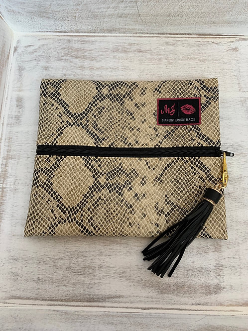 Makeup Junkie Bags White Snake Small