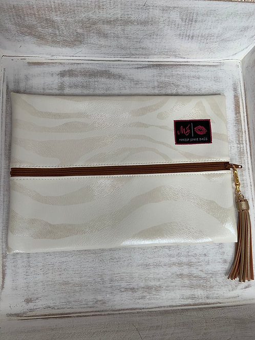 Makeup Junkie Bags Safari Pearl Cognac Zipper Medium