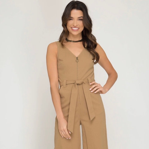 She and Sky Jumpsuit with Waist Sash