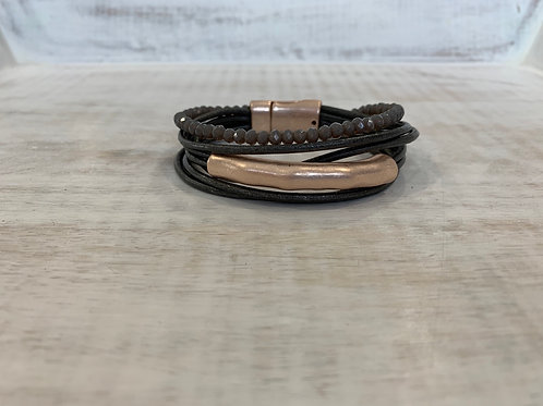 Lauren Michael Black and Rose Gold Bar with Gray Beads