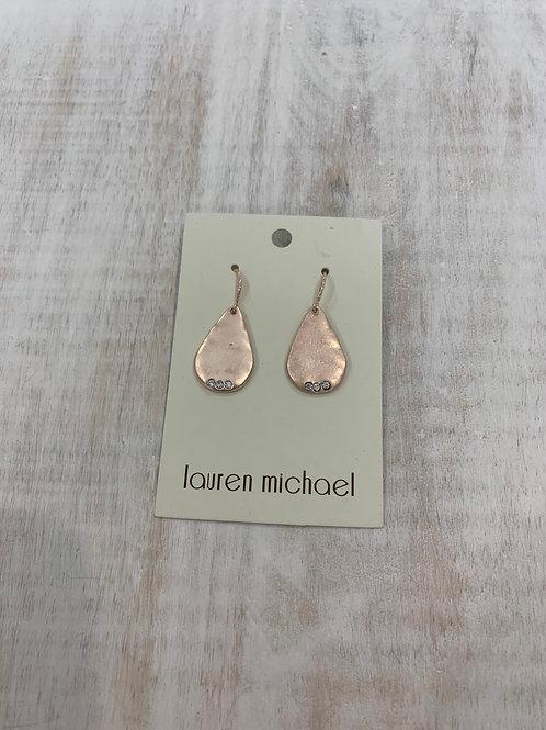 Lauren Michael Rose Gold Closed Drop with Gem Earrings