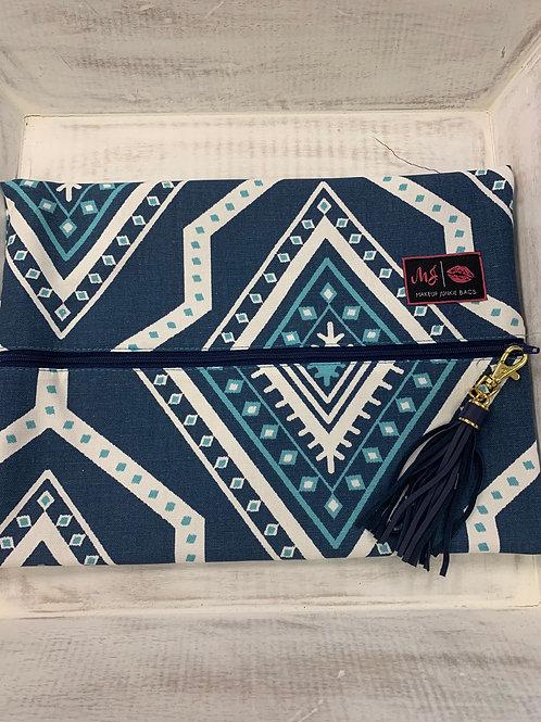 Makeup Junkie Bags Blue Aztec Large