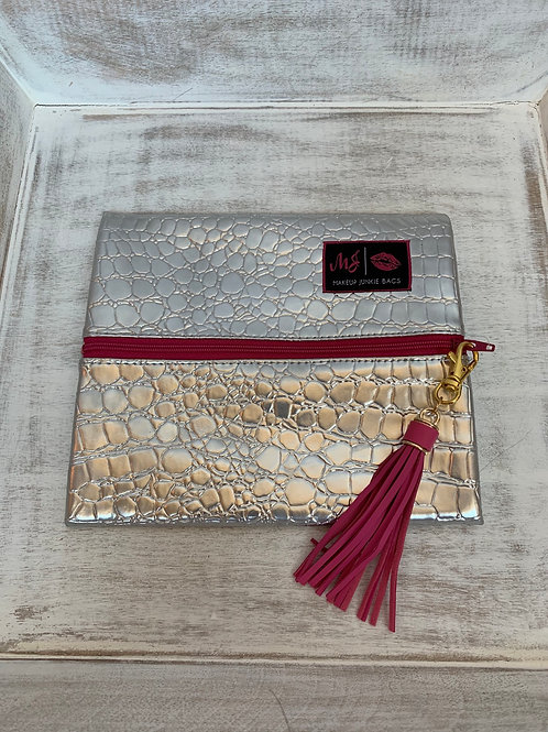 Makeup Junkie Bags Destash Platinum Gator Pink Zipper Glam Stripe Interior Small