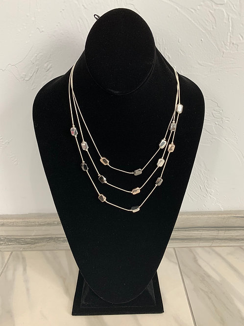 Lauren Michael Silver, Rose Gold and Gunmetal Necklace Three Chain