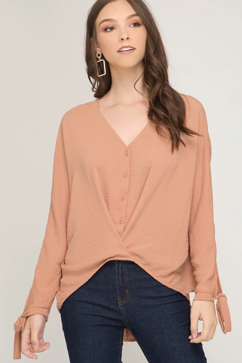 She and Sky Woven Button Down Front Cross Top
