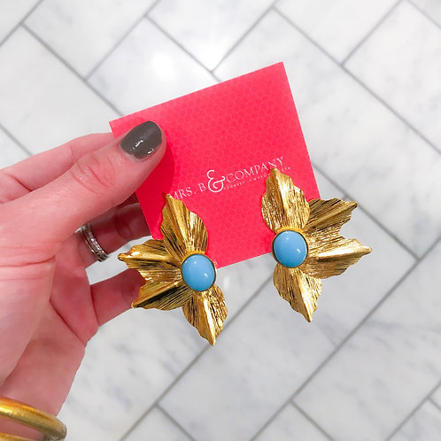 Gold and Blue Starburst Earrings