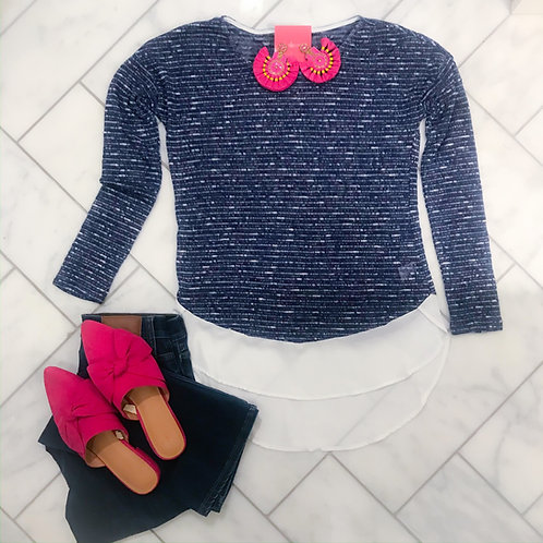 Blue Shirt-tail Sweater