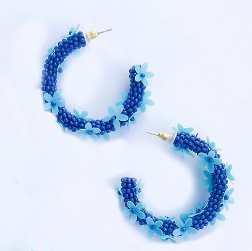 Blue Floral Hoops