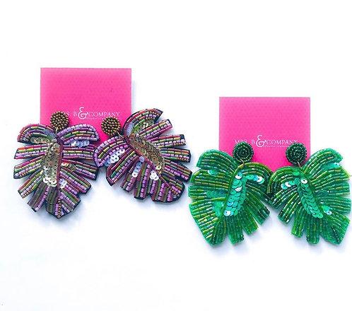 Sequin Palm Earrings
