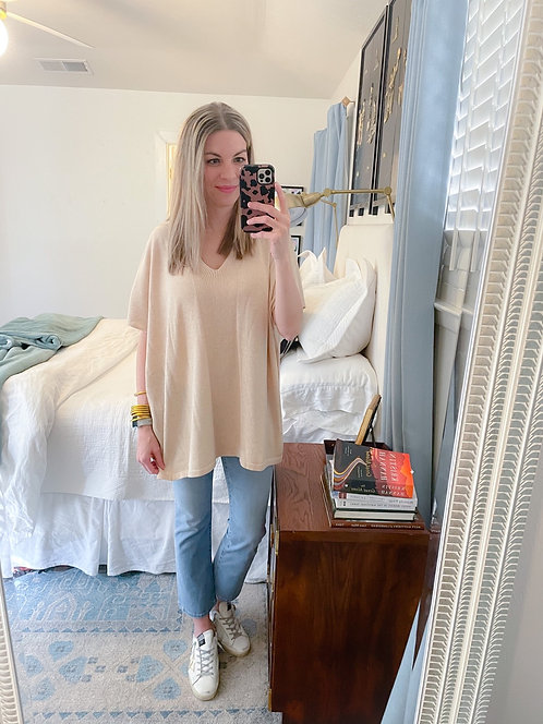 Beige Poncho Pullover