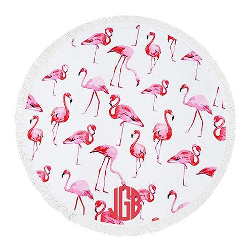 Round Beach Blanket - Flamingo
