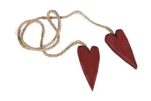 2 Röda hjärtan på rep