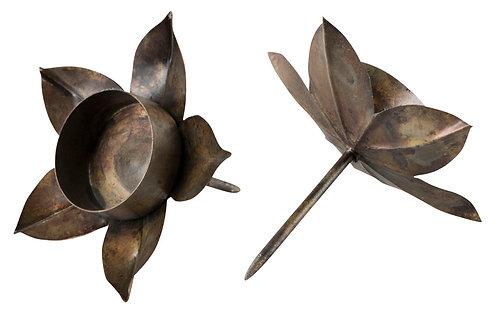 Värmeljushållare antikbrun blomma sticks
