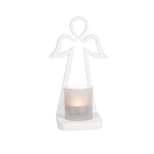 Vit ängel med ljushållare
