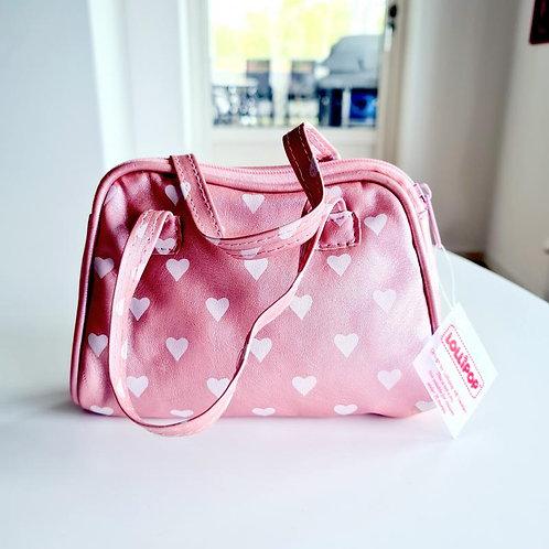 Väska med hjärtan ljusrosa