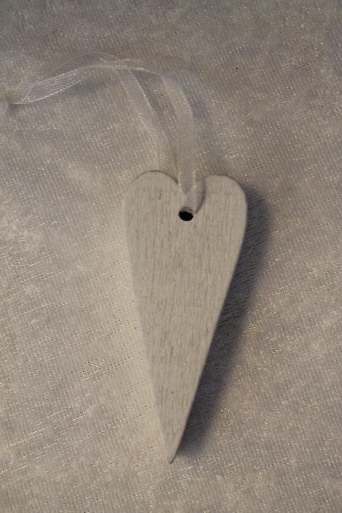 Långt trähjärta 2 vitt