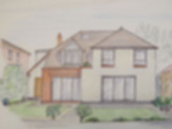 House Extension Hand Drawn Sketch. Design Team Partnership LLP.