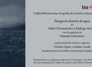 """Invitación al lanzamiento de """"Patagonia desierto de agua"""""""