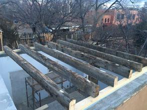 Giant Repurposed Wood on Historic Remodel